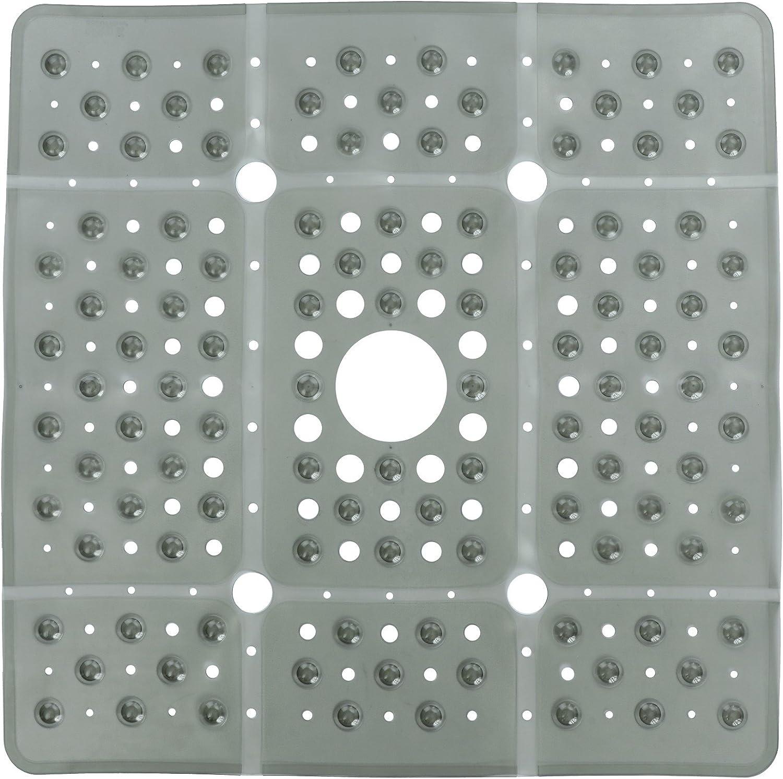 Square Dark Grey Pebble PVC Bath Mat Non Slip Shower Suction Safety Accessories