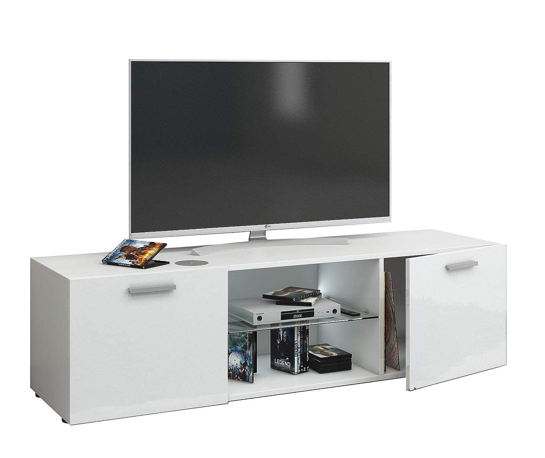 VCM Jusa Poli Fin 115 Meuble TV - Bois - Blanc - 40 x 115 x 36 cm
