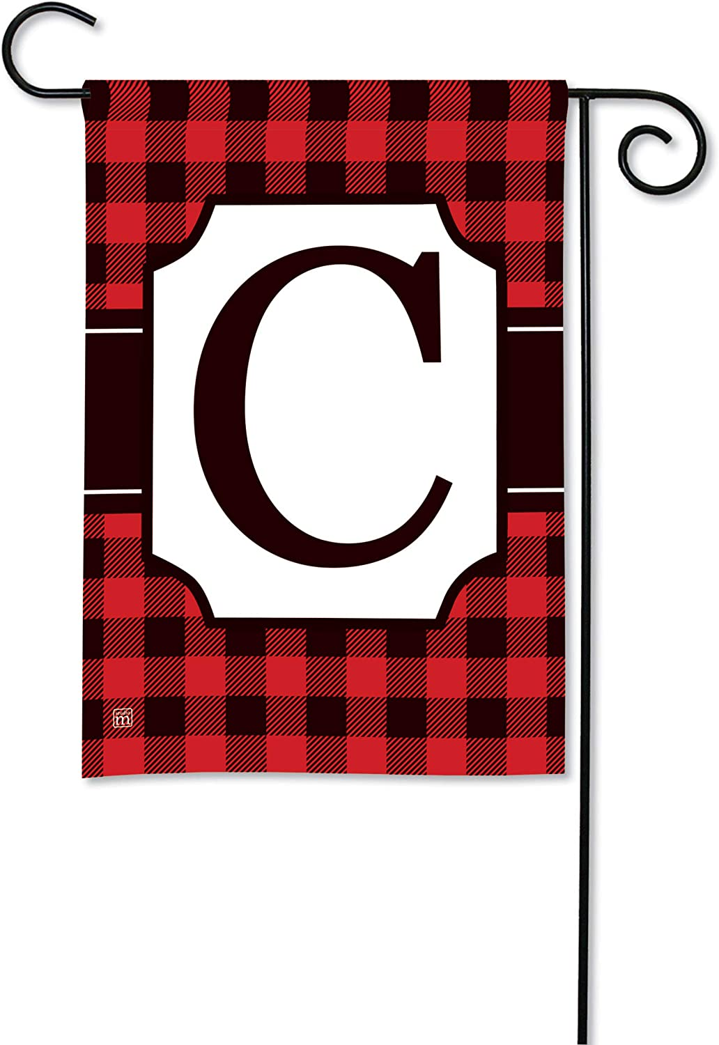 BreezeArt Studio M Buffalo Check Monogram C Garden Flag - Premium Quality, 12.5 x 18 Inches