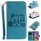 Samsung S6 Case,Galaxy S6 Cover,Samsung Galaxy S6 Wallet Case,Samsung Galaxy S6 Leather Case,Cozy Hut Cute Cartoon Pattern Panda for Samsung Galaxy S6 PU Leather Hand Wrist Strap Fashion Stand Folio Anti Shock Flip Case with Magnet Closure and Card Slots Holster Mobile Phone Protective Case For Samsung Galaxy S6 / G9200 5,1 Inch - Sky Blue Panda