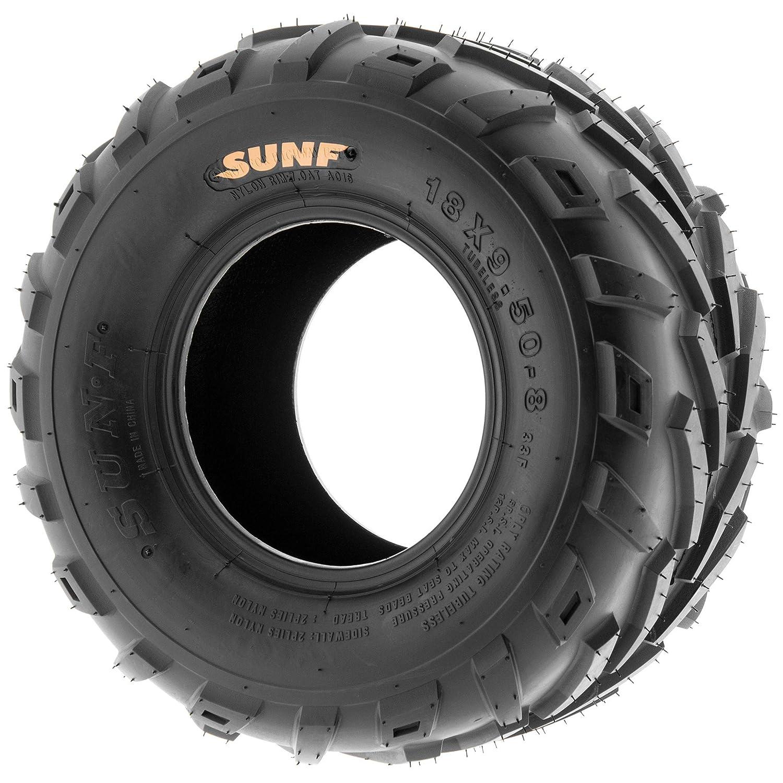 Set of 4 SunF All Terrain Race Replacement ATV UTV 6 Ply Tires 18x9.5-8 18x9.5x8 Tubeless A016,