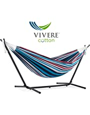 Vivere Double Hammock with 9' Steel Stand, Denim