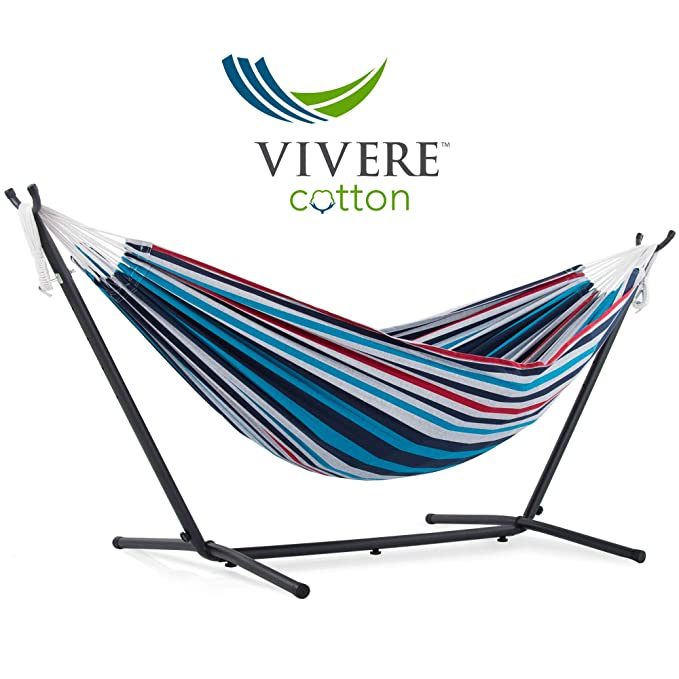 Vivere Double Cotton Hammock with Space-Saving Steel Stand – Best Hammock with Stand