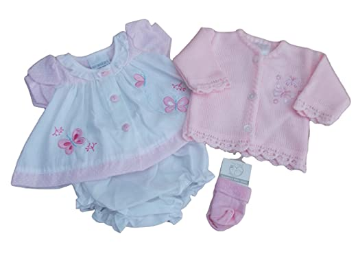2770a3a0bcb4 with Tags Tiny Premature Preemie Baby Butterfly Dress Cardigan and Socks (3- 5lbs,