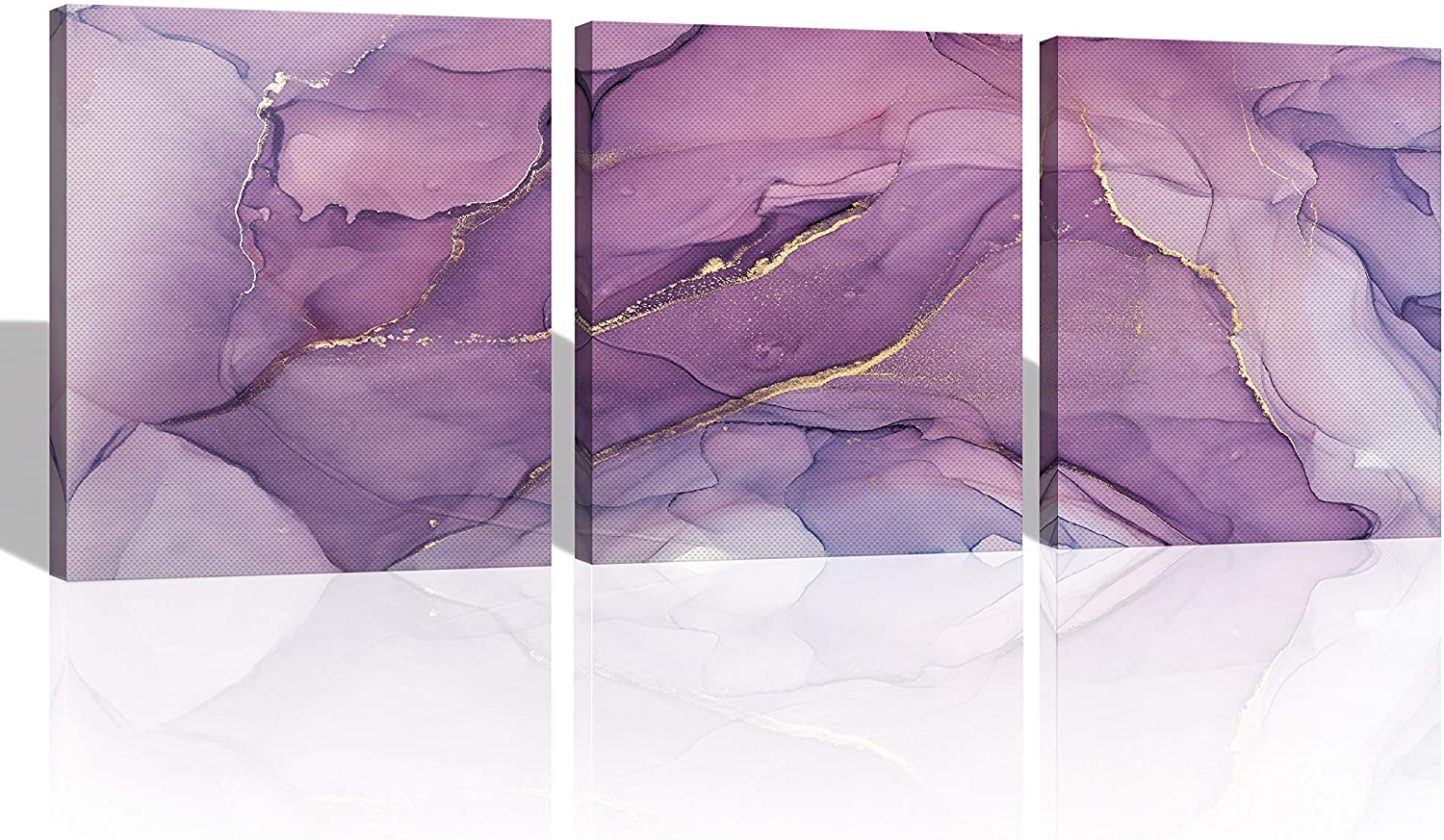 Oiney Amethyst Purple Marble Canvas Abstract Wall Art Modern Home Wall Decor for Living Rooms,Office,Bathroom Set of 3 Panels
