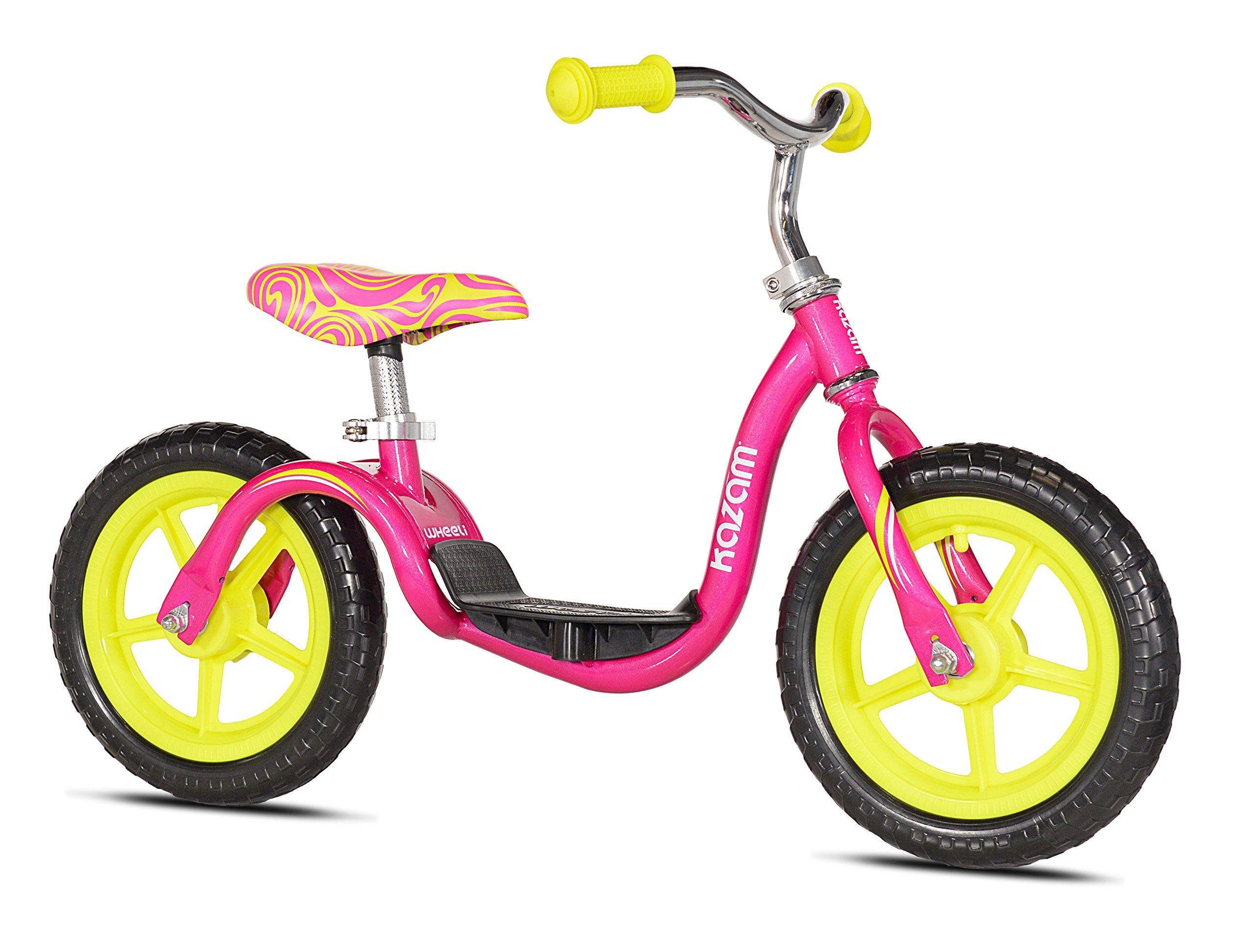 KaZAM v2e No Pedal Balance Bike, Pink/Yellow