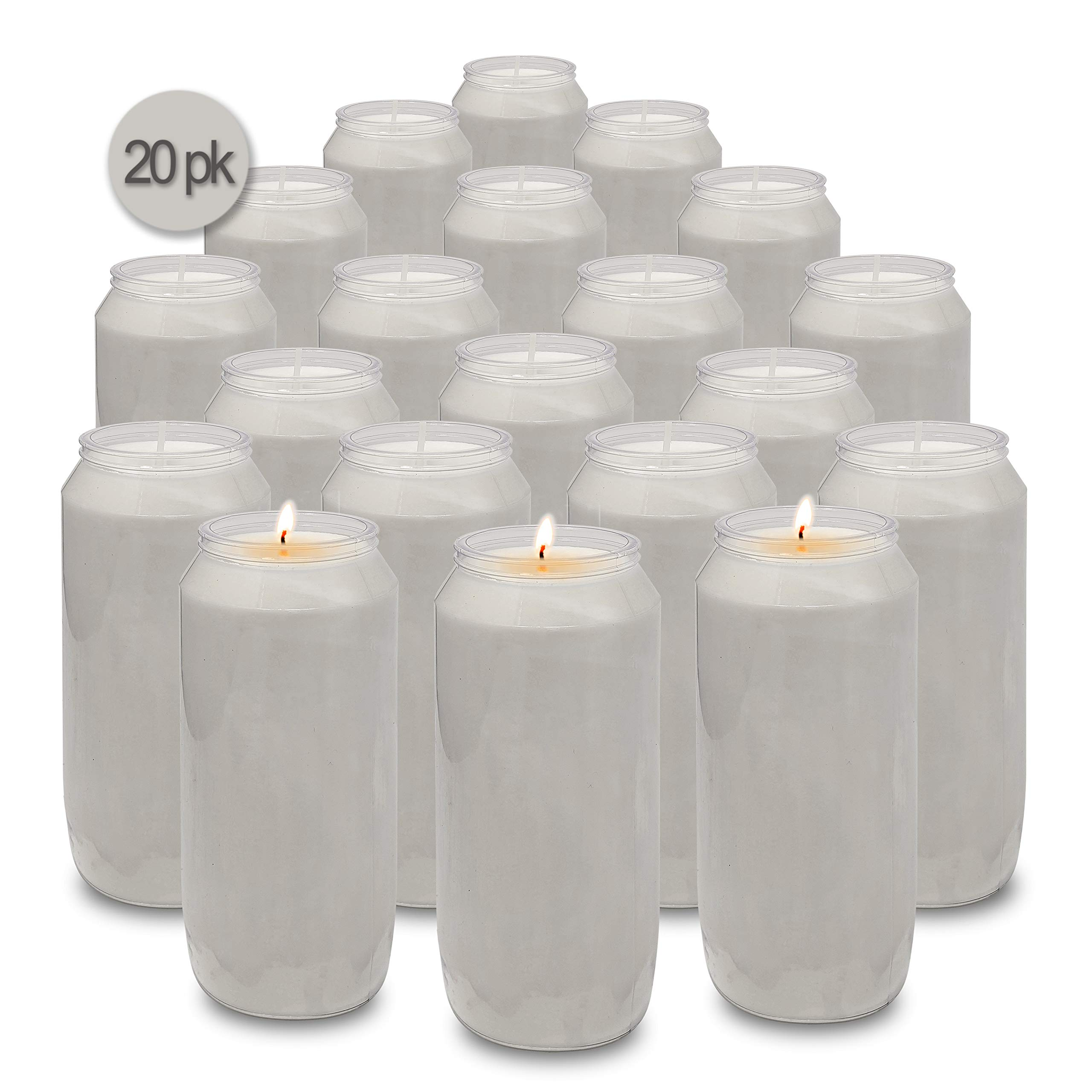 Hyoola 7 Day White Prayer Candles, 20 Pack - 6'' Tall Pillar Candles for Religious, Memorial, Party Decor, Vigil and Emergency Use - Vegetable Oil Wax in Plastic Jar Container by Hyoola
