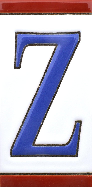 Dise/ño USA MEDIANO 10,9 cm x 5,4 cm. N/úmeros casa NUMERO SEIS 6 direcciones y se/ñal/éctica Numeros y letras en azulejo de ceramica pintados a mano en t/écnica cuerda seca para nombres