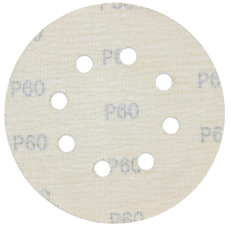 Pack of 100 LotFancy 5-Inch 8-Hole 80 Grit Dustless Hook-and-Loop Sanding Disc Sander Paper