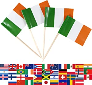 JBCD 100 Pcs Ireland Flag Toothpicks Irish Flags St. Patrick's Day Cupcake Toppers Decorations, Cocktail Toothpick Flag Cake Topper Picks Mini Small Flag Cupcake Pick Sticks
