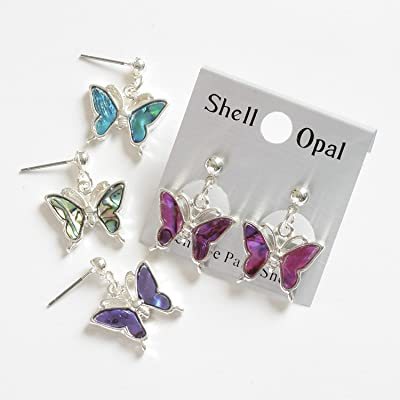Abalone Butterfly Earrings ~ Card Of 2 ~ Colour Chosen At Random: Juguetes y juegos