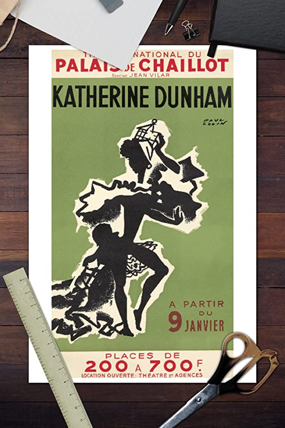 Amazon.com: Katherine Dunham - Palais de Chaillot Vintage Poster (artist: Colin) France c. 1949 (16x24 Giclee Gallery Print, Wall Decor Travel Poster): ...