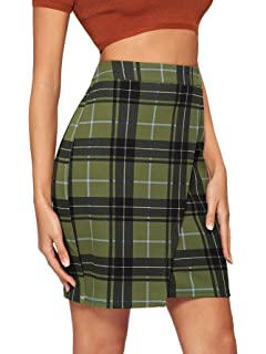 08f7034083 SheIn Women's Basic Stretch Plaid Mini Bodycon Pencil Skirt at ...