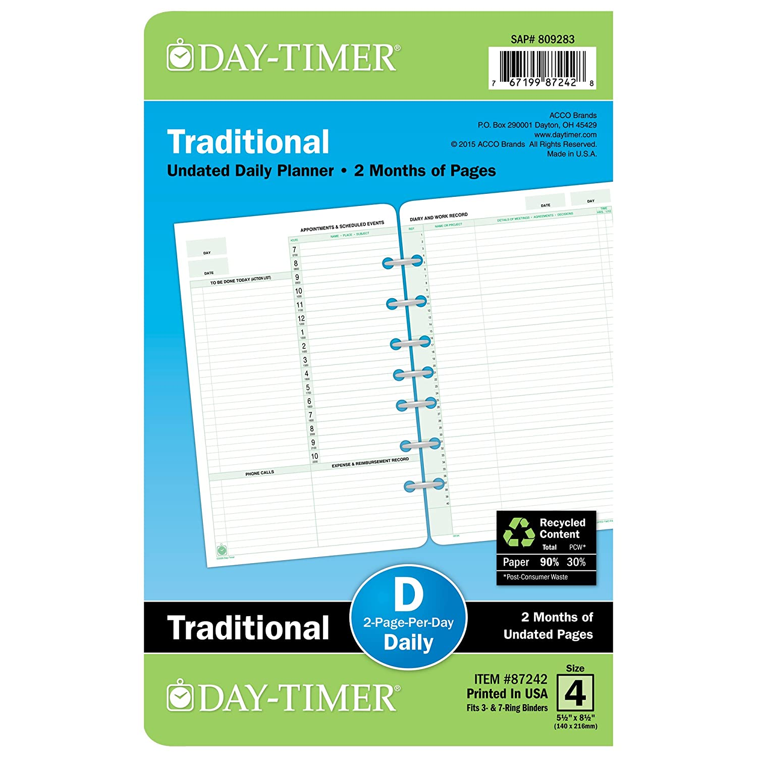 Amazon Day Timer Two Page Per Day Refill 2 Months Undated