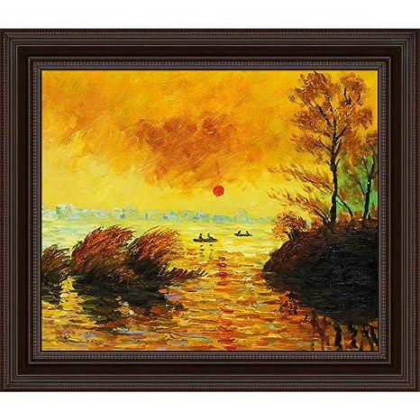 overstockArt Hand Painted Oil on Canvas Le Coucher Du Soleil La Seine Framed