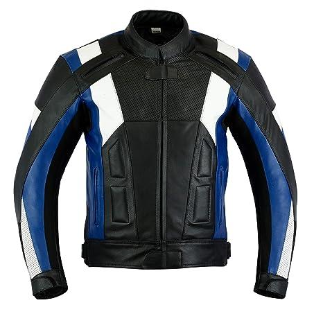blaue Herren Motorradlederjacke mit drei Taschen