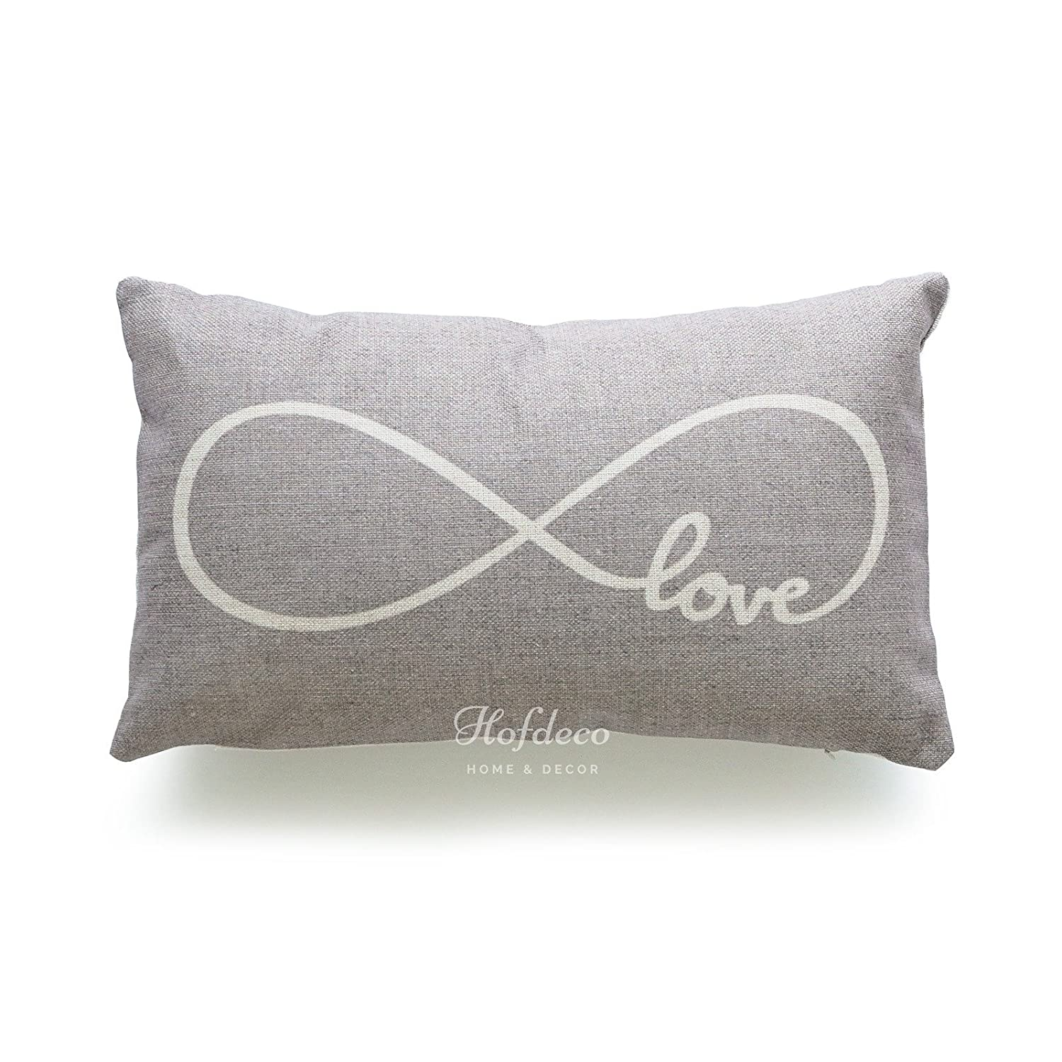 Hofdeco Set of 2Pcs Lumbar Pillow Case Grey Love Is All You Need and Infinite Love His Her Love Script HEAVY WEIGHT FABRIC Cushion Cover 12x20