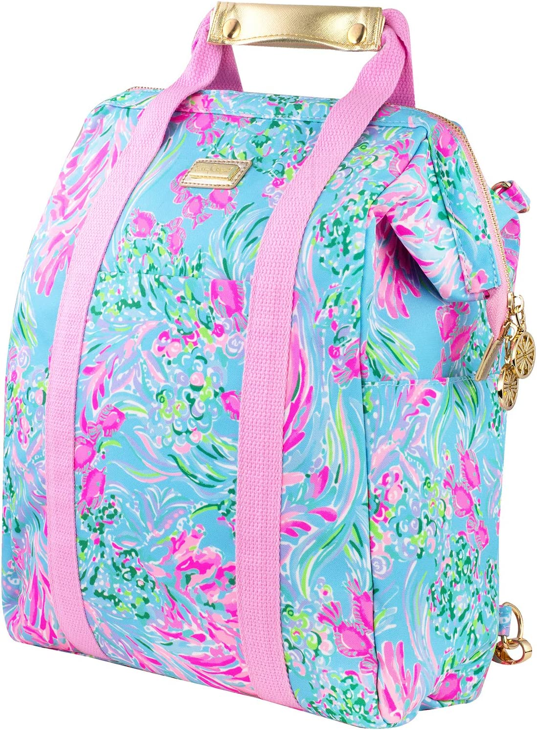 Lilly Pulitzer Insulted Backpack Cooler Large Capacity, Pink/Blue Portable Soft Cooler Bag for Picnics, Beach, Pool, Hiking, Best Fishes