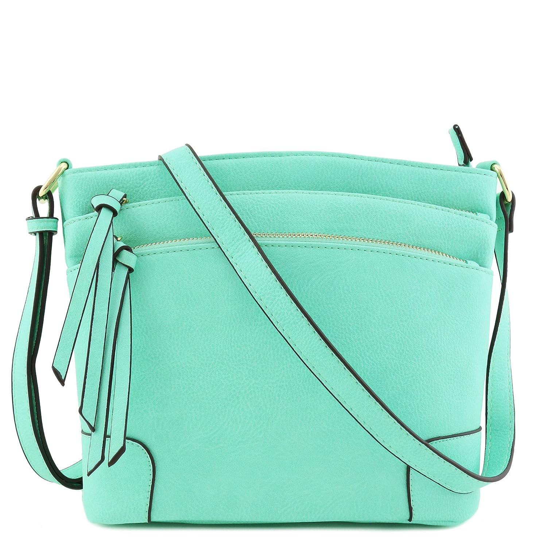 Light Mint Triple Zipper Pocket Medium Crossbody Bag