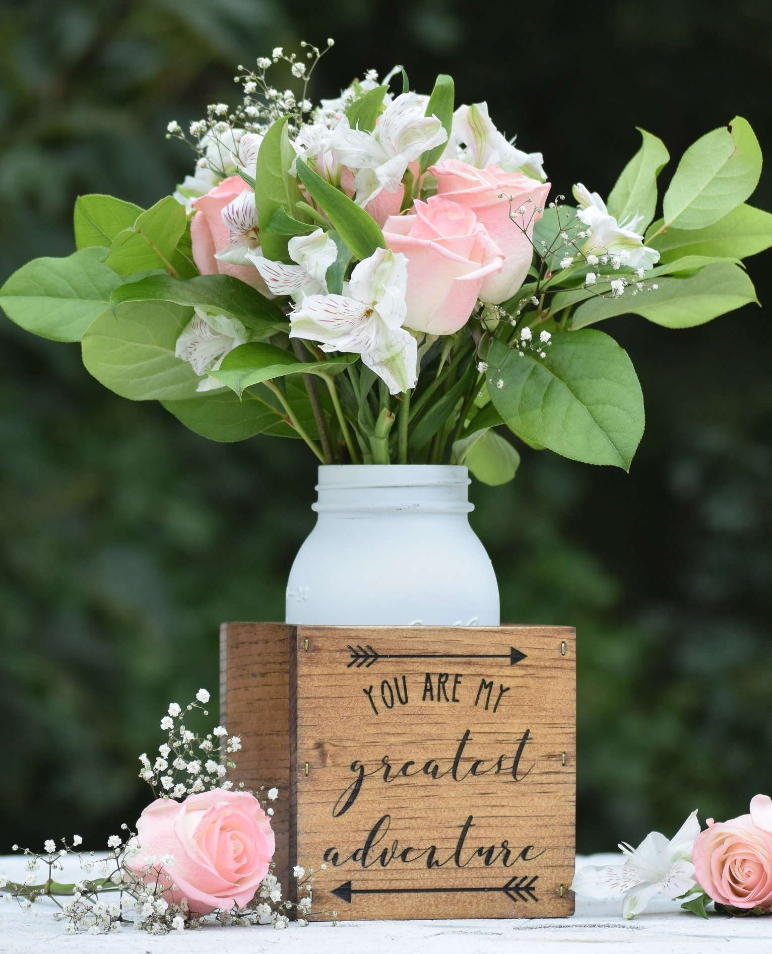 You Are My Greatest Adventure Flower Vase - Planter Vase - Wood Flower Box - Wedding Centerpiece - Wooden Planter Box - Rustic Home Decor