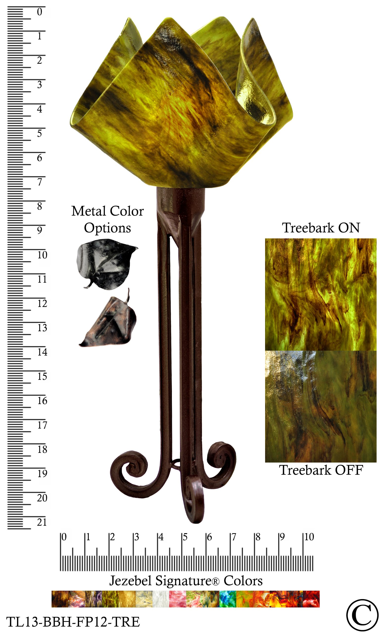Jezebel Signature® Torch Light. Hardware: Brown with Brown Highlights. Glass: Treebark, Flame Style