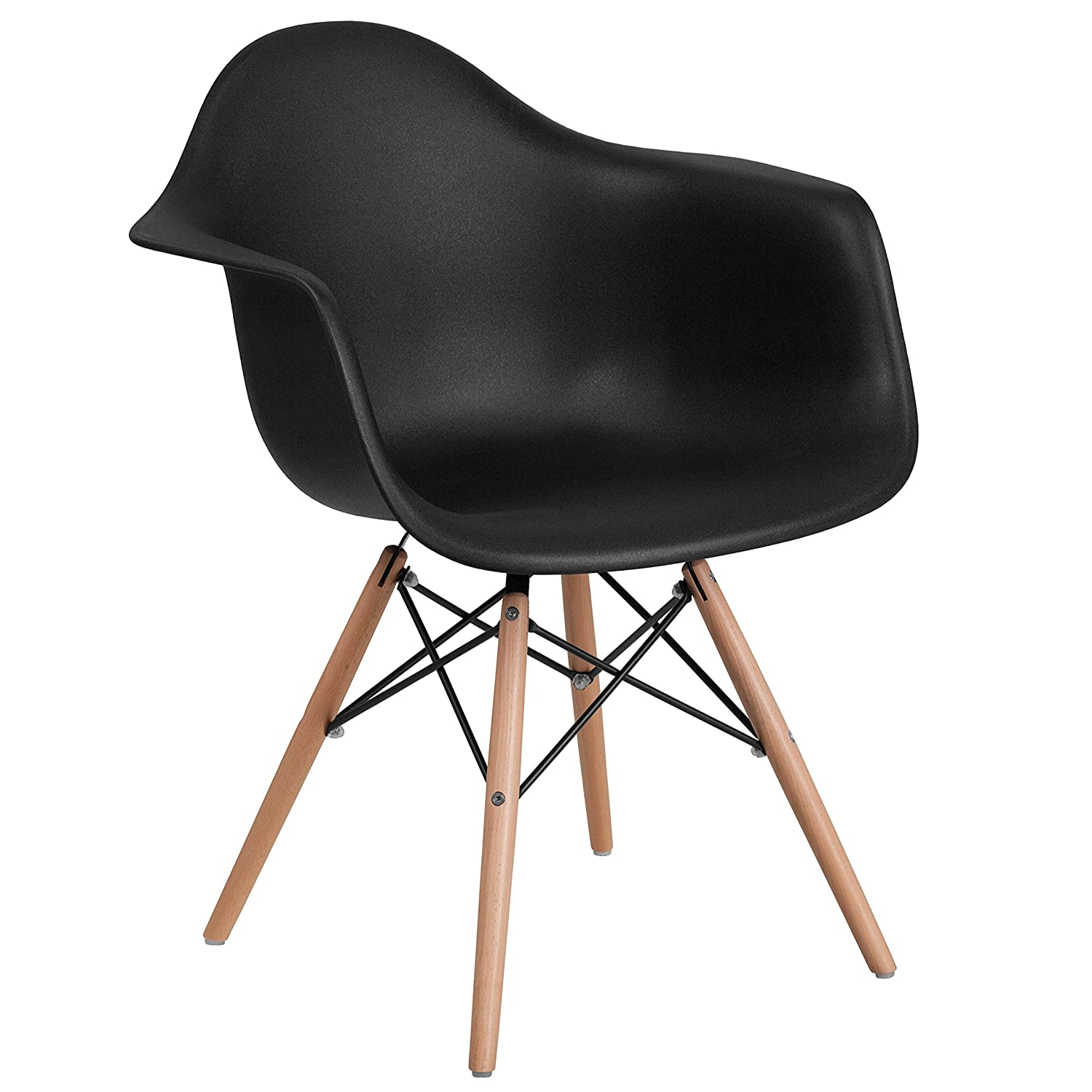Flash Furniture Alonza Series Black Plastic Chair with Wooden Legs