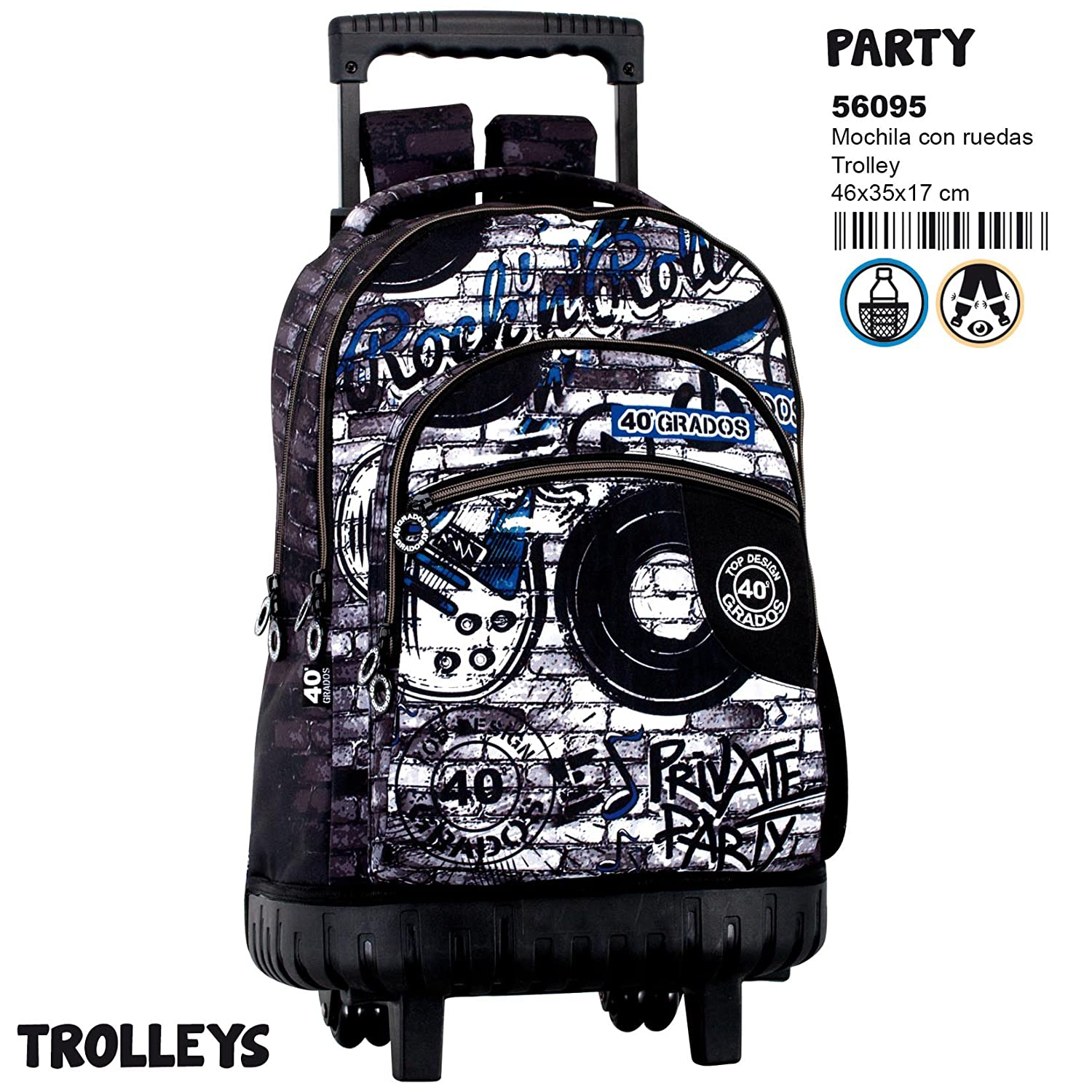 Amazon.com | Montichelvo Trolley Cg Party Travel Tote, 46 cm, Multicolour | Travel Totes