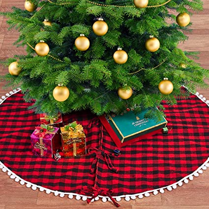 Buffalo Check Christmas Tree Decor.Lbg Products Christmas Red And Black Buffalo Plaid Check Tree Skirt Mat With Pom Pom Trim Double Layers Decorations For Xmas Holiday 48inch In