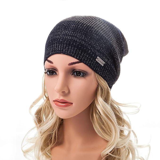 aebab9f1e80 LADYBRO Beanie Hats for Women Stripes Silver Threads Angora Knit Cap Beany  Women Crochet Fashion Hat
