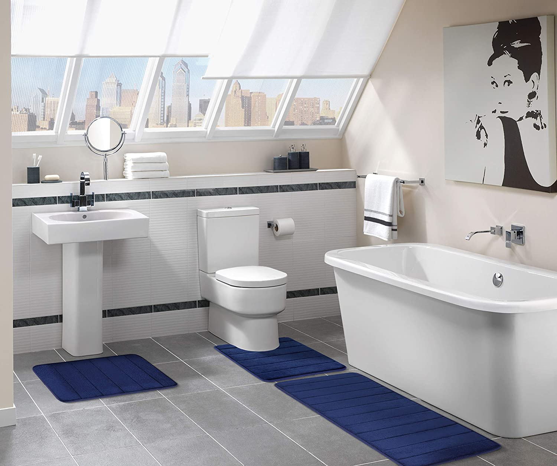 U-Shaped Non Slip Absorbent Thick Soft Washable Bathroom Rugs 20 x 24, Beige Floor Carpet Bath Mat for Bathroom Sink Toilet Olanly Memory Foam Contour Toilet Bath Rug