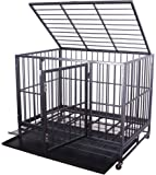Haige Pet Heavy Duty Dog Cage Metal Pet Crate Kennel with Tray and Wheels