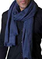 Anika Dali Men's Rocker Classic Navy Blue & Mini White Dot Scarf