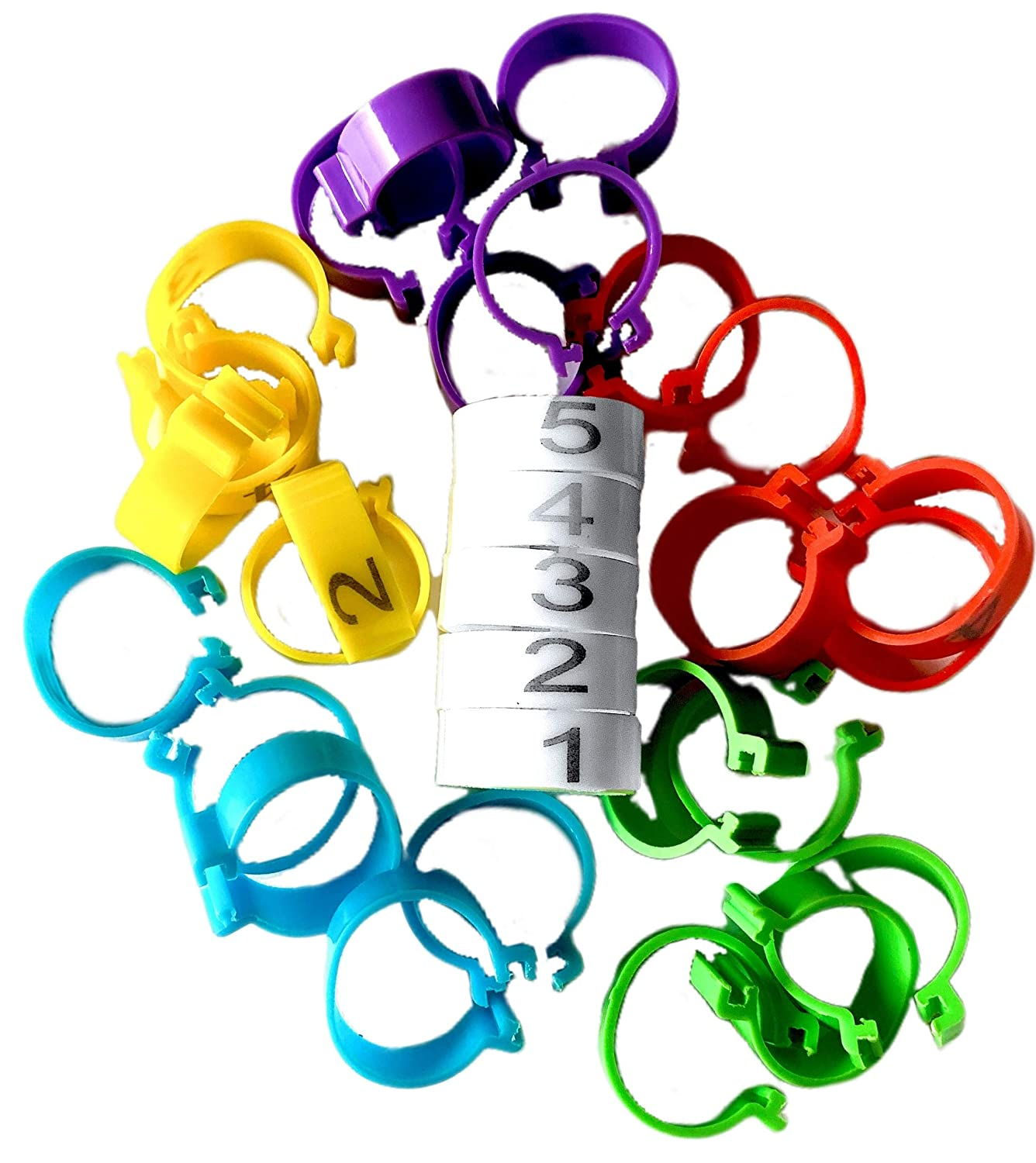 Chicken Leg Rings Duck Medium is 1//2 to 5//8 legs and Large is 5//8 to 3//4 legs Turkey Guinea Clip On Poultry Ankle Bands for Gamefowl 20 Numbered Tag Markers for 3-7lb Birds