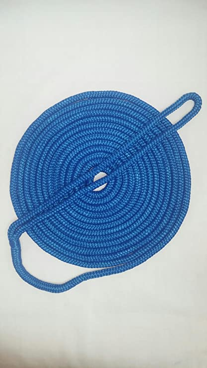 "New England Ropes Nylon Double Braid 1/"" X 40/' Blue with 18/"" Spliced Eye"