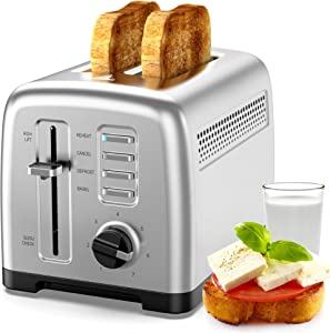 Toaster 2 slice stainless steel toaster, fast toaster. With 7 bread shadow settings and defrost/bagel/cancel/heating/quick check functions, removable bread crumb tray, 900W silver…