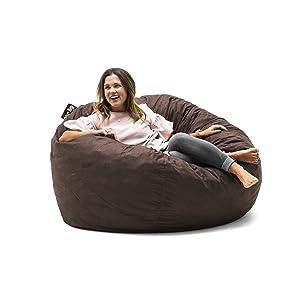 Big Joe 0010656 Fuf Foam Filled Bean Bag Chair, Large, Cocoa Lenox