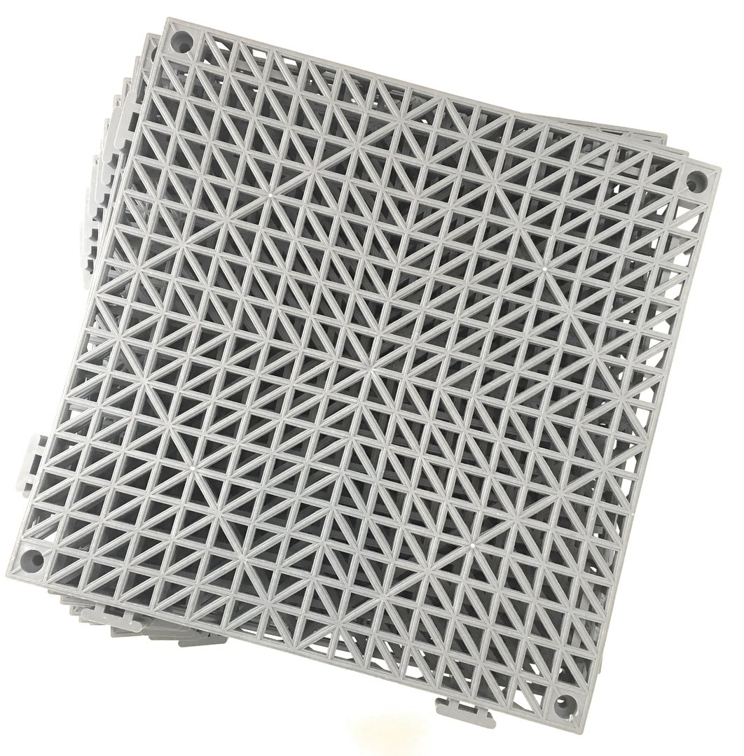 Set of 9 Interlocking Gray Rubber Floor Tiles- 11.5 inches Each Side - Non-Slip Tread - Wet Areas Like Pool Shower Locker-Room Bathroom Deck Patio Garage Boat. Can be Cut to fit- Foghorn Construction