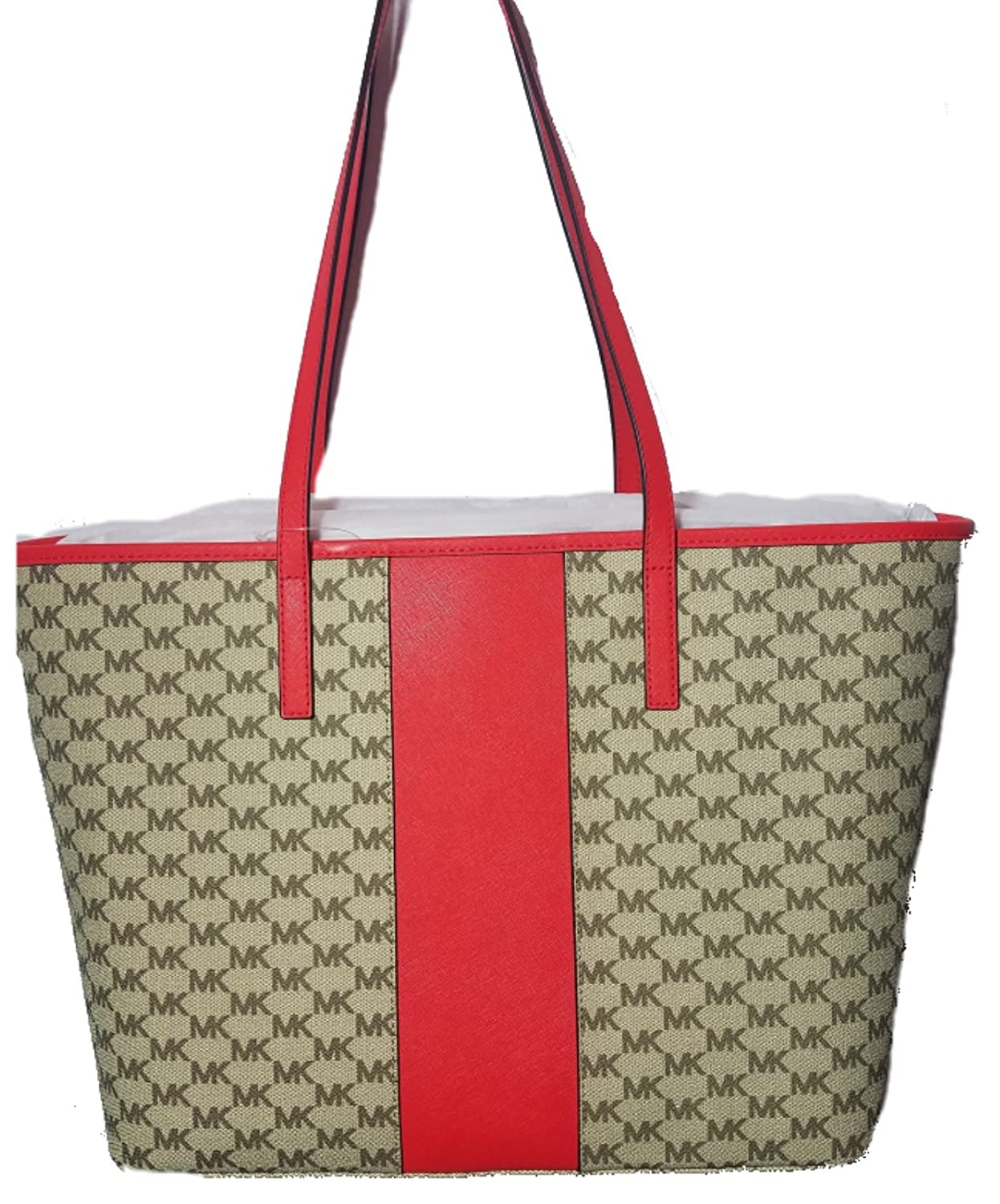 3ee35fec91a2 Michael Kors Center Stripe Emry Large Tote, Natural/ Bright Red: Handbags:  Amazon.com