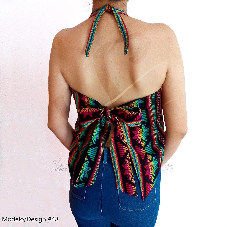 Mexican Rug Cambaya Halterneck Tie Back Blouse Cami Top