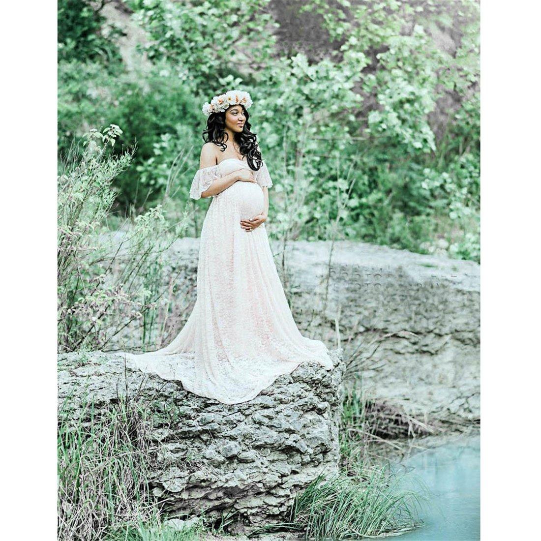 b659e51b3e5c3 Amazon.com: Long Maternity Dress,Hemlock Women Lace Maternity Photo Dress  Off Shoulder Photography Pregnancy Dress (M, White): Computers & Accessories