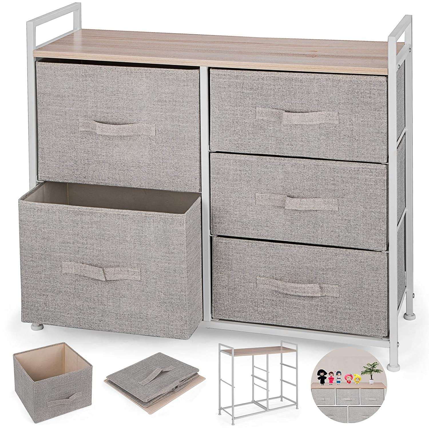 Happybuy 5-Drawer Storage Organizer Unit with Fabric Bins Bedroom Play Room Entryway Hallway Closets Steel Frame MDF Top Dresser Storage Tower Fabric ...