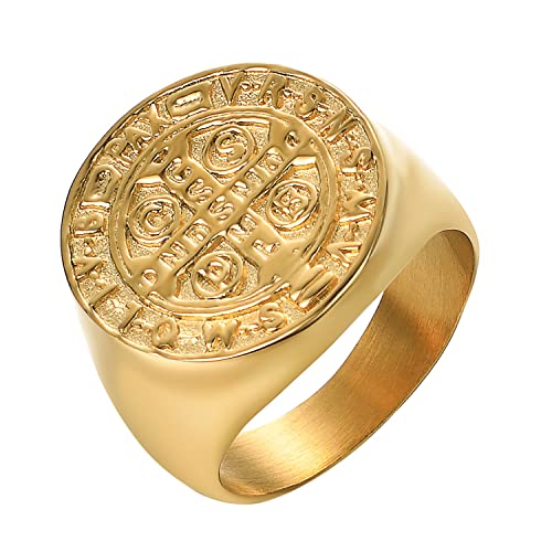 e3f85d7cb7fa1 Yoursfs Men Stainless Steel Gold Plated Freemason Masonic St Benedict  Exorcism Signet Ring Catholic Cross