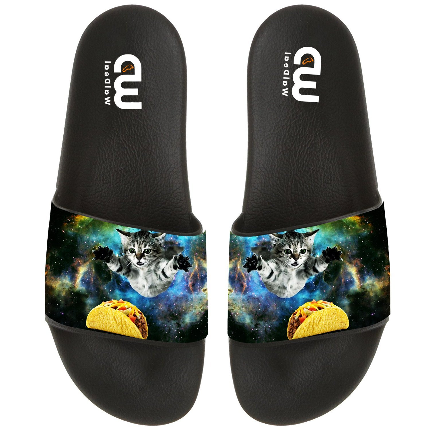 Funny Space Cat Eat Pizza Taco Summer Slide Slippers For Boy Girl Outdoor Beach Sandal Shoes size 1