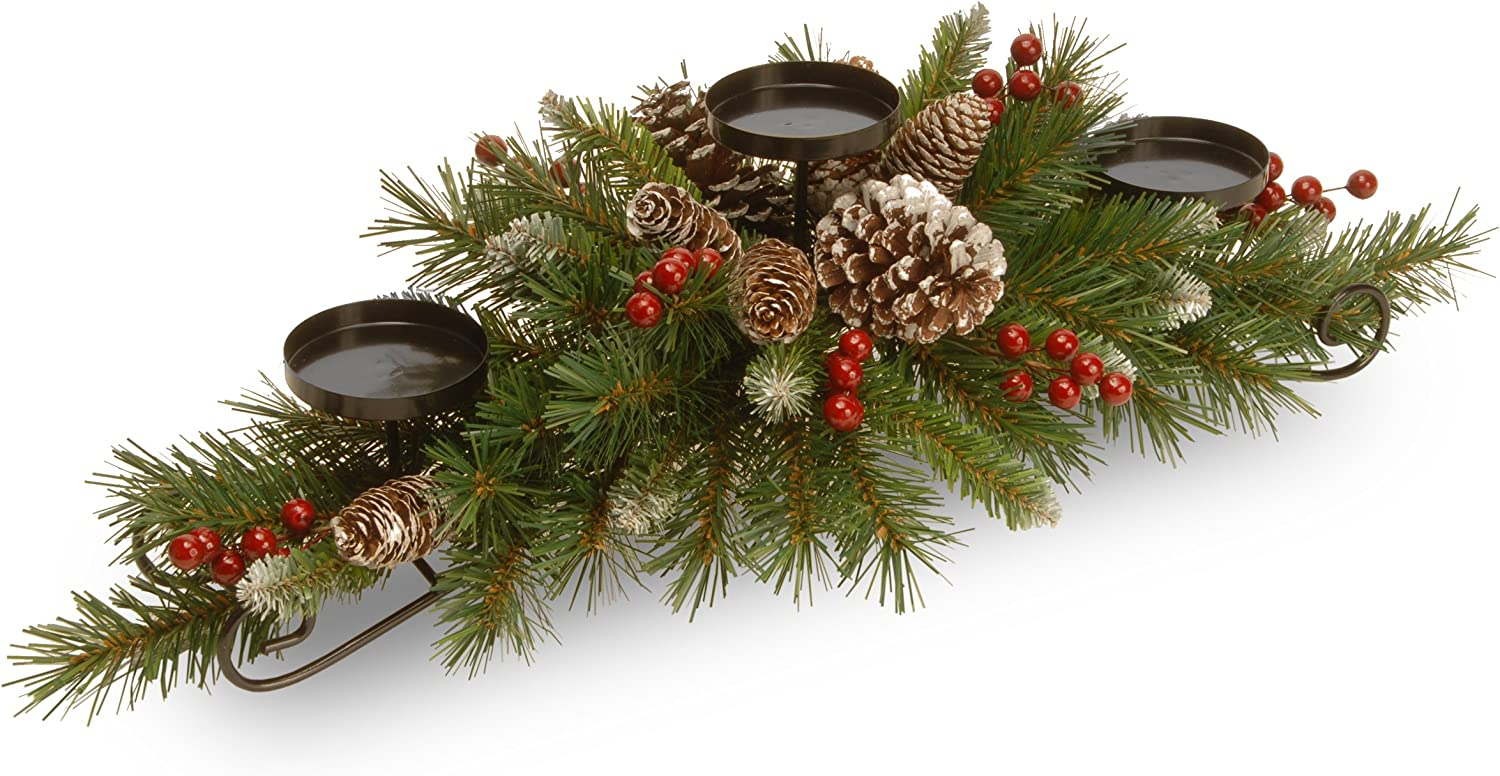 National Tree 30 Inch Frosted Berry Centerpiece with 3 Candle Holders (FRB3-800-30C-B1)