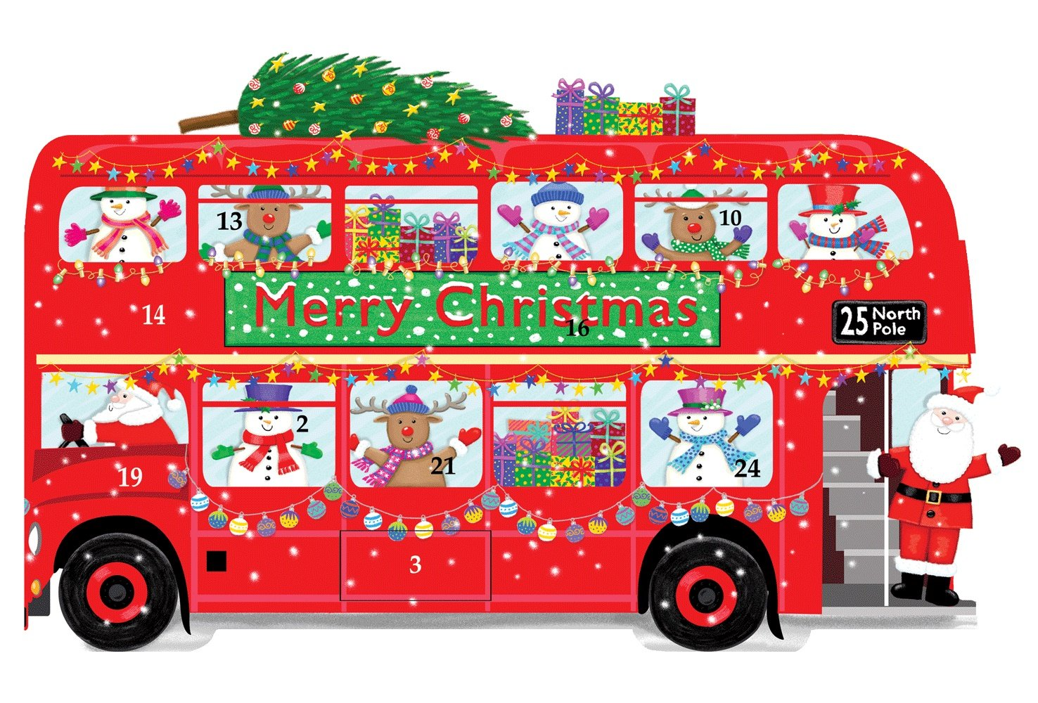 Entertaining with Caspari ADV260 Double Decker Bus Pop Up Advent Calendar, Red