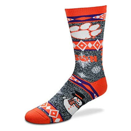 buy popular 5834a c2e92 For Bare Feet NCAA Ugly Christmas Holiday Snowman Socks-Clemson Tigers-Large