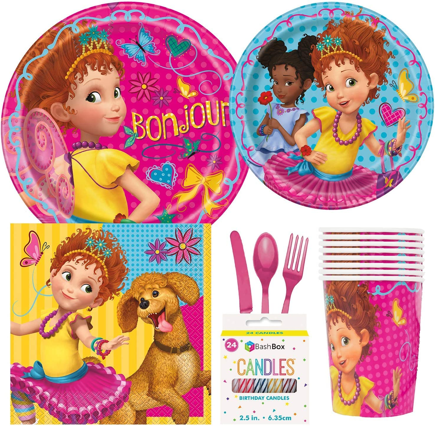 Bashbox Disney Fancy Nancy Clancy Birthday Party Supplies Pack Including Cake Lunch Plates Cutlery Cups Napkins 8 Guests Plus Bonus Candles Amazon Co Uk Toys Games