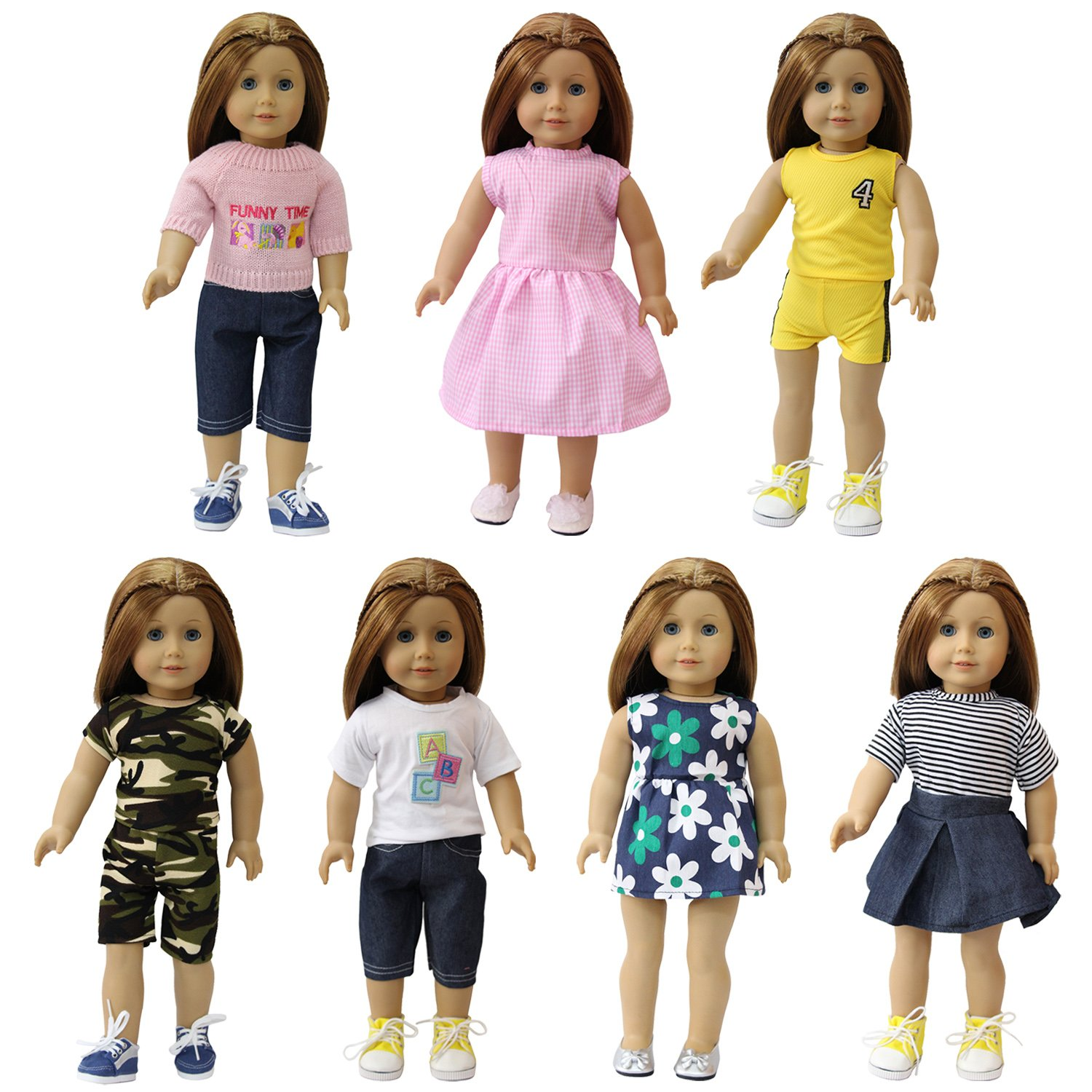 ZITA ELEMENT 7 Pcs American Girl Doll/Baby Alive Doll Clothes | 14-18 Inch Doll Dresses, Summer Outfits, Winter Sweater Mix & Match | Best Premium & Reward Gift for Girls