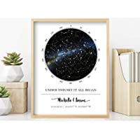Custom Star Map - Personalized Star Map (Multiple Sizes - Unframed Star Prints, Star Constellation Map Wall Art, Great…
