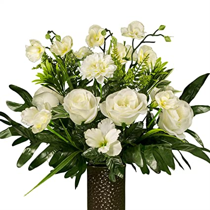 Amazon White Rose With Orchids Artificial Bouquet Featuring